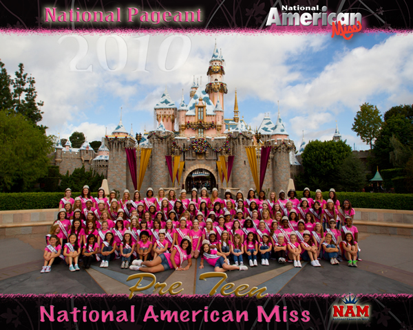 The 2010 National American Miss Pre-Teen National Contestants at Disney Castle